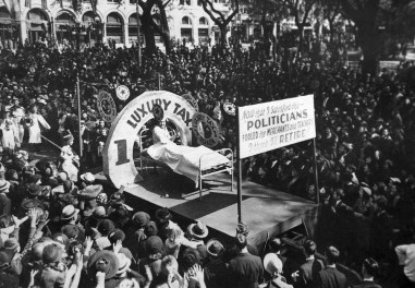 An undated photo of a Comic Cowboys float during Mardi Gras in Mobile. (Mobile Carnival Museum)