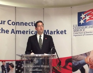 Mobile Area Chamber of Commerce CEO Bill Sisson speaks at a press conference in Casablanca where the chamber announced the signing of a trade memo with the American Chamber of Commerce in Morocco. (contributed)