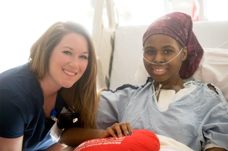 Shelby Bryant, left, registered nurse in CICU, with Michelle. Shelby was Michelle's primary nurse throughout her stay at UAB. (UAB Media)
