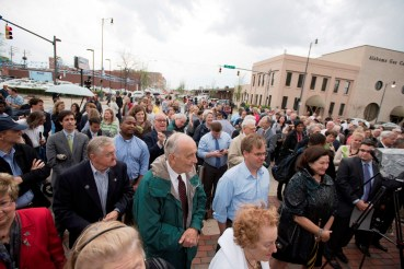 A crowd turned out for the dedication and lighting of the Rotary Trail Sign Wednesday. (Christopher Jones/Alabama NewsCenter)