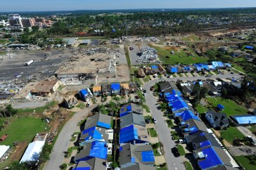 Blue tarps mark roofs damaged in the April 27, 2011 tornadoes.