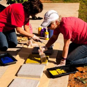 Gaston APSO members painted pavers with bright colors. (contributed)