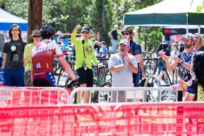 Parents and supporters cheer cycling competitors on. (Nik Layman/Alabama NewsCenter)