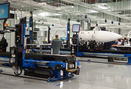 A Raytheon workstation with a mock-up of a partial missile assembly. (Simon Dawson/Bloomberg)