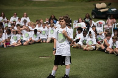 Students soak up lessons in golf and life from the pros at the Junior Clinic before this week's Regions Tradition golf tournament. (Christopher Jones/Alabama NewsCenter)