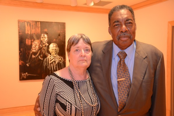 Hank Thomas shared his story along with Janie Forsyth, the girl who gave the riders water in Anniston, at the Birmingham Civil Rights Institute. (Karim Shamsi-Basha/Alabama NewsCenter)
