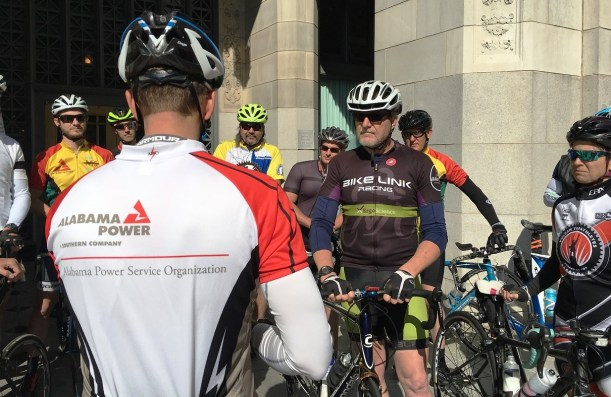 The Dam Ride cyclists prepare to start the ride at Alabama Power headquarters in Birmingham. (Brittany Faush-Johnson/Alabama NewsCenter)