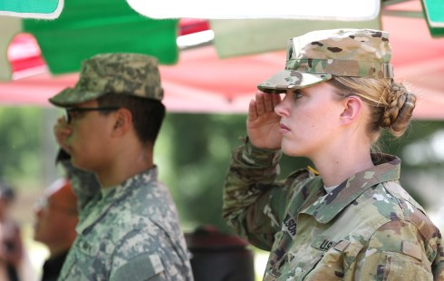 Officials fromAlabama Power,the Army and other federal agencies gather at Fort Ruckeron Thursday, June 2, 2016, to break ground on the company's second, large-scale solar energy project. (Mike Kittrell/Alabama NewsCenter)