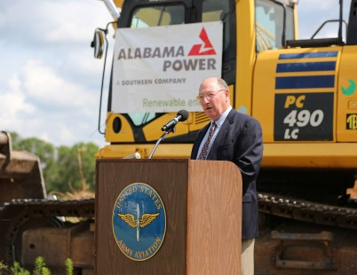 Russel Hall, Deputy to the Commanding General Fort Rucker, makes remarks as officials from Alabama Power, the Army and other federal agencies gather at Fort Rucker on Thursday, June 2, 2016, to break ground on the company's second, large-scale solar energy project. (Mike Kittrell/Alabama NewsCenter)