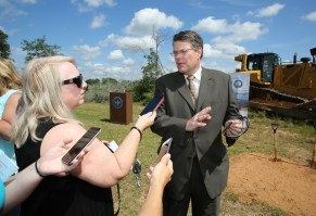 Alabama Power's John Kelley addresses reporters as officials with the company, the Army and other federal agencies gather at Fort Rucker on Thursday, June 2, 2016, to break ground on the company's second, large-scale solar energy project. (Mike Kittrell/Alabama NewsCenter)