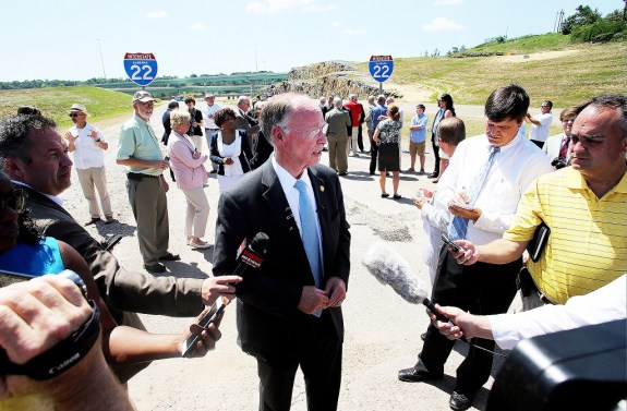 Alabama Gov. Robert Bentley meets with reporters after the ribbon cutting for the Interstate 22 and Interstate 65 interchange. (Governor's Office/Jamie Martin)