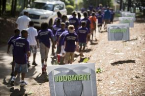 Important life values greet students as they arrive at the Barbasol Junior Clinic. (Christopher Jones/Alabama NewsCenter)