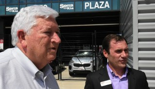 Birmingham Barons owner Don Logan with Andrew Bell, president of the National Multiple Sclerosis Society, Alabama-Mississippi Chapter, at a Regions Field ceremony honoring Logan's leadership in the fight against MS. (Solomon Crenshaw Jr./Alabama NewsCenter)