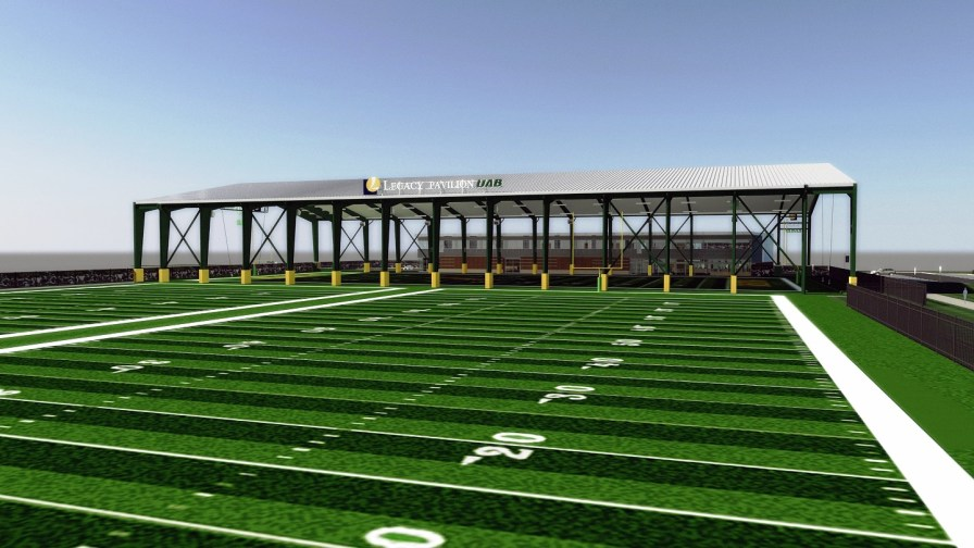 UAB Football plans to start construction this month on a new 46,000-square-foot football operations center, two practice fields and an open-air pavilion. (contributed)