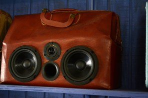 Wade Wellborn, a.k.a Dr. Music, started making speakers out of old suitcases and selling them in his Fairhope record store and it grew into its own business and made him an Alabama Maker. (Karim Shamsi-Basha/Alabama NewsCenter)