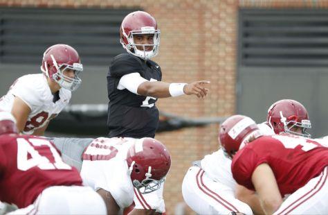 Alabama quarterback Jalen Hurts at Monday's practice. (Robert Sutton / UA Athletics)