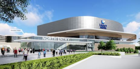 A proposed new north entrance to the Legacy Arena at the BJCC. (Populous)