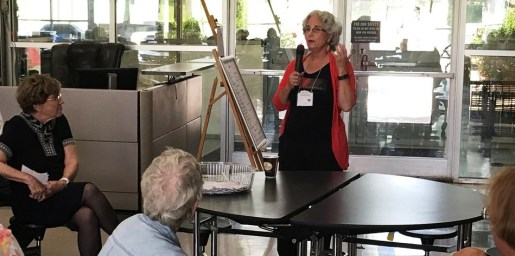 Writer T.K. Thorne talks to a group about writing, something she has done often as a leader of the Alabama Writers Conclave. (Karim Shamsi-Basha/Alabama NewsCenter)