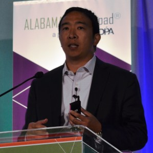 Andrew Yang delivers the keynote address at the Alabama Innovation Awards. (Michael Tomberlin / Alabama NewsCenter)