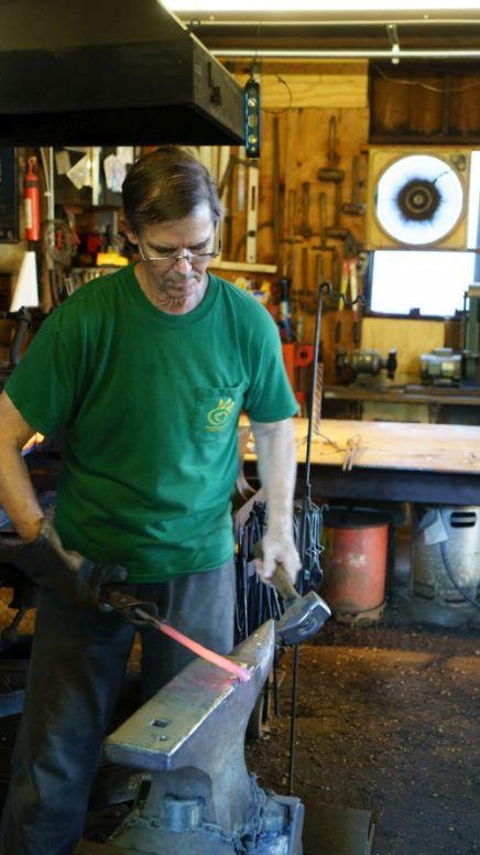 Steve Davis at work at Sunheart Metalworks (Photo courtesy of Mark Sandlin)
