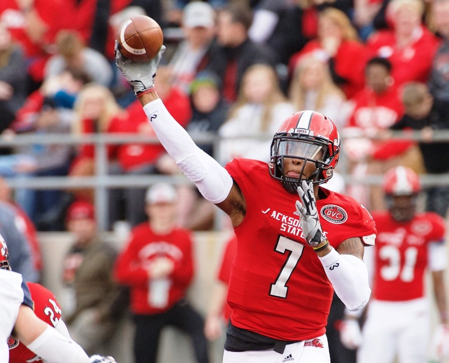 JSU Gamecocks quarterback Eli Jenkins (7) is among the players coach John Grass hopes will make his team a national title contender in the FCS again this year. (Jacksonville State Athletics)