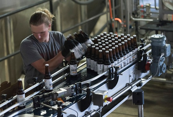 Dalton Downey removes and boxes bottles of beer on the bottling line at the Back Forty Beer Co. in Gadsden. (Bernard Troncale / Alabama NewsCenter)