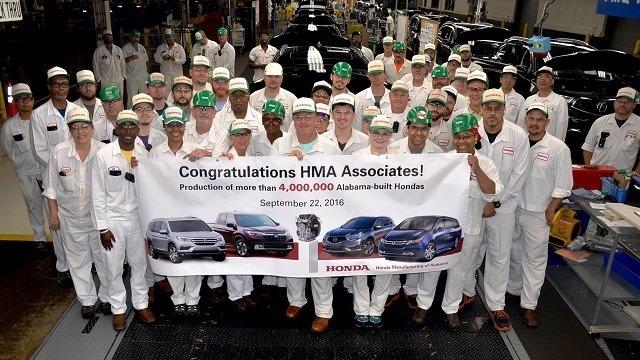 Milestone: Honda produces 4 millionth Alabama-made vehicle
