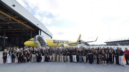 Spirit Airlines sent 140 employees to the delivery ceremony at Airbus' Alabama manufacturing center. (Airbus)
