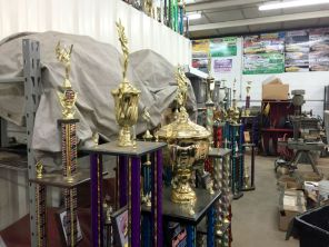 Ttrophies inside the garage. (Anne Kristoff/Alabama NewsCenter)