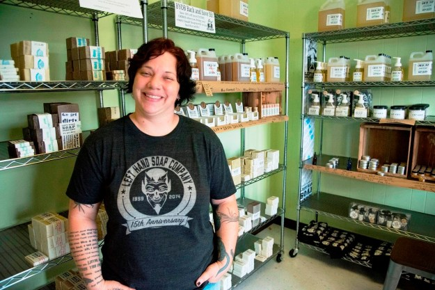 Soapy Jones started Left Hand Soap Company after her homemade soaps won raves from friends who received them as Christmas gifts. (Mark Jerald/Alabama NewsCenter)