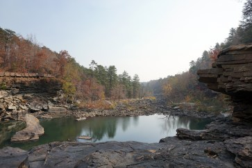 Little River Falls. The falls are dry from the severe drought affecting Alabama. (Erin Harney/Alabama NewsCenter)