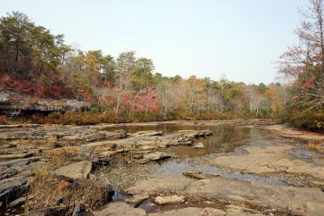 Little River upstream from Little River Falls. The drought has exposed the riverbed. (Erin Harney/Alabama NewsCenter)