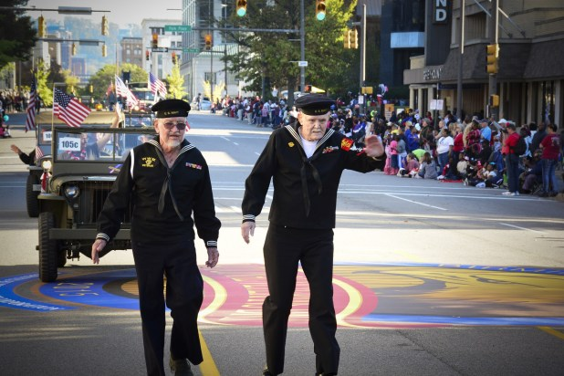 Two retired Navy Seamen walk in the Birmingham Veterans Day Parade Nov. 11, 2015. (U.S. Air National Guard photo by SMSgt Ken Johnson/117th Air Refueling Wing)