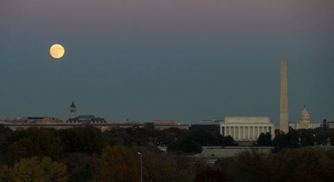 The moon is seen as it rises over Washington, D.C. on Sunday. (Joel Kowsky/NASA)