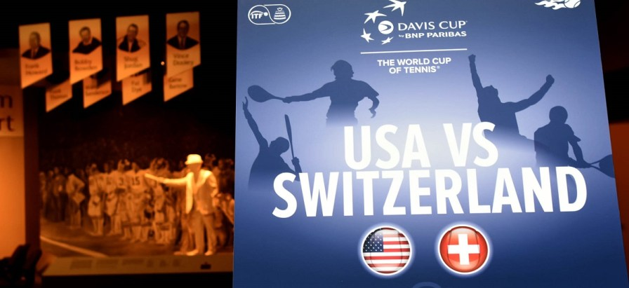 A poster at the Alabama Sports Hall of Fame announces that Birmingham will again host a Davis Cup tie pitting the United States against Switzerland. (Solomon Crenshaw/Alabama NewsCenter)