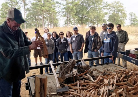 University of Montevallo students learn about firewood during a trip to Alabama's Black Belt. (Brittany Faush-Johnson/Alabama NewsCenter)