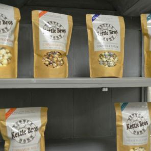 Kettle Bros gourmet popcorn features a variety of delectable flavors. (Michael Tomberlin / Alabama NewsCenter)