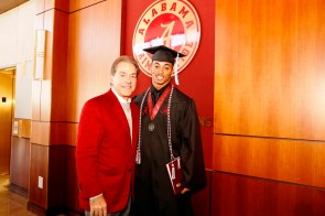 Nick Saban poses with Anthony Averett, one of more than 30 Crimson Tide student-athletes graduation from the University of Alabama Saturday. (Robert Sutton/UA Athletics)