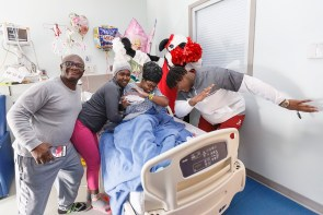 The Alabama Crimson Tide visits with patients and family at Scottish Rite Children's Hospital on December 28, 2016 in Atlanta. Alabama faces the Washington Huskies in the 2016 Chick-fil-A Peach Bowl Playoff Semifinal on New Year's Eve, with the winner advancing to the National Championship. (Paul Abell / Abell Images for the Chick-fil-A Peach Bowl)