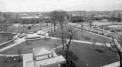 A 1993 photo shows the view across Kelly Ingram Park, including the 16th Street Church and the Birmingham Civil Rights Institute. (Jet Lowe/Library of Congress)