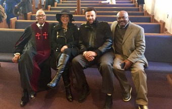 Recalling days past are, from left, Former Birmingham Black Baron Rev. William Greason, Marie Wilson, Artie Wilson Jr. and Chef Clayton Sherrod. (contributed)