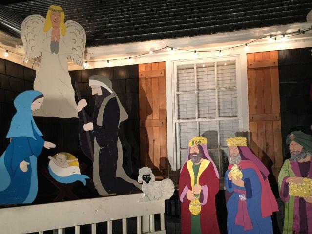A nativity shines in one corner. (Donna Cope / Alabama NewsCenter)