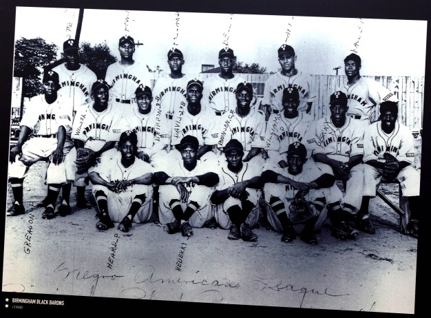 A team picture of the 1948 Birmingham Black Barons is on display at the Negro Southern League Museum in Birmingham. (Solomon Crenshaw Jr. / Alabama NewsCenter)