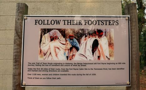 Trail of Tears sign near the Fort Payne cabin site. The only Trail of Tears route that originated in Alabama left from Fort Payne. (Erin Harney/Alabama NewsCenter)