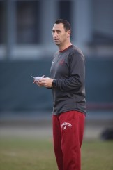 New offensive coordinator Steve Sarkisian at Tuesday's practice (Kent Gidley/UA Athletics)