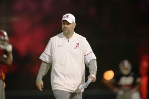 Defensive coordinator Jeremy Pruitt at Tuesday's practice. (Kent Gidley/UA Athletics)