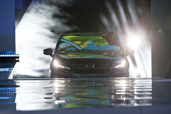 The 2018 Honda Motor Co. Odyssey minivan vehicle is unveiled during the 2017 North American International Auto Show (NAIAS) in Detroit. (Daniel Acker/Bloomberg)