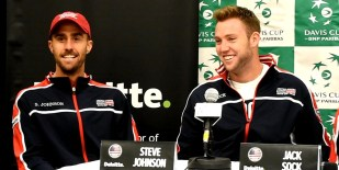 US Davis Cup Team members Steve Johnson, left, and Jack Sock sahre a laugh prior to the press conference. (Solomon Crenshaw Jr. / Alabama NewsCenter)
