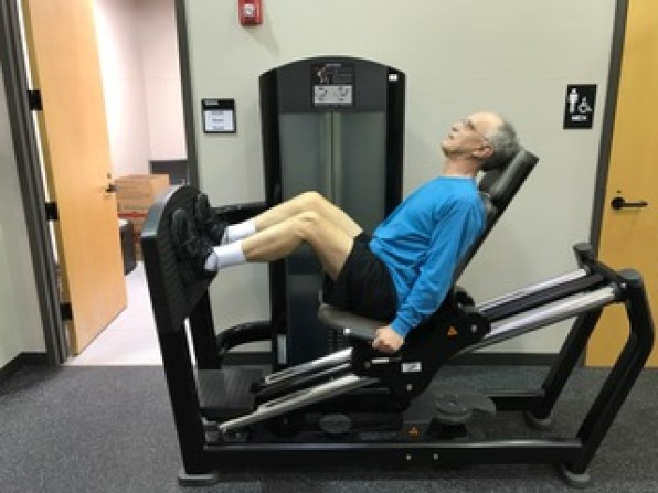Heyward Menasco exercises as part of a UAB Center for Exercise Medicine clinical trial, building strength and muscle mass. (Bob Shephard)
