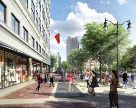 A rendering shows the view north down 19th Street from the sidewalk in front of the renovated Pizitz building. (Contributed)